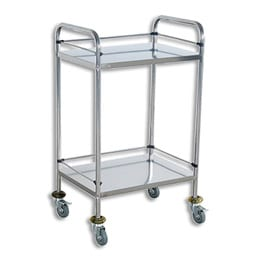 Medical Trolley Small Double Shelf 600x400x800mm