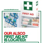 First aid poster kit location