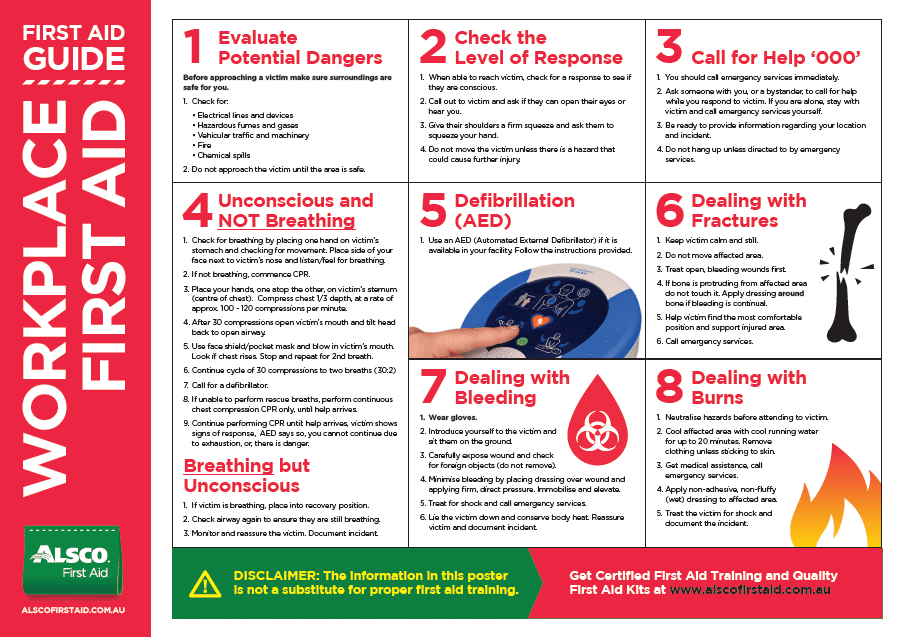 picture regarding Printable First Aid Guides named Initial Assist Poster Down load No cost Business Elements Alsco