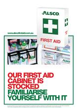 First aid poster cabinet stocked